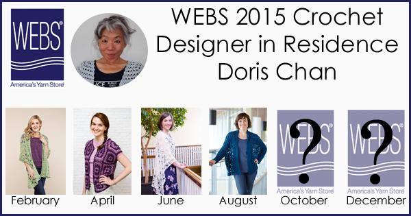 Doris Chan, WEBS Designer in Residence August design, the Crocheted Goshen Jacket. Read more on the WEBS blog at blog.yarn.com