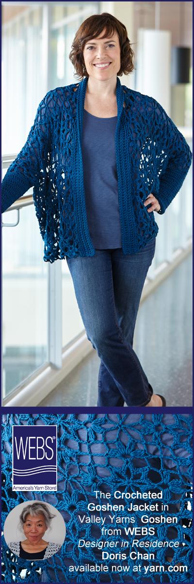 Doris Chan, WEBS Designer in Residence, August design - the Crocheted Goshen Jacket. Read more on the WEBS blog at blog.yarn.com