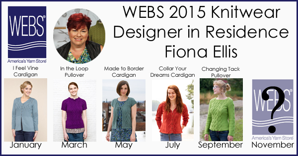 Fiona Ellis WEBS 2015 Knitwear Designer in Residence. Her fifth design, the Changing Tack Pullover, in Valley Yarns Brimfield - learn more at blog.yarn.com