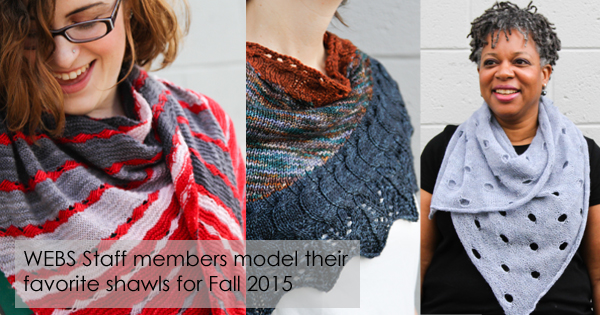 Shawls of all shapes and styles for Fall 2015. Read more on the WEBS Blog at blog.yarn.com