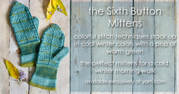 The Sixth Button Mittens - patterns sales benefit Safe Passage. Read more on the WEBS Blog at blog.yarn.com