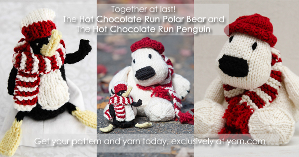 The Hot Chocolate Run Polar Bear and the Hot Chocolate Run Penguin - patterns sales benefit Safe Passage. Read more on the WEBS Blog at blog.yarn.com