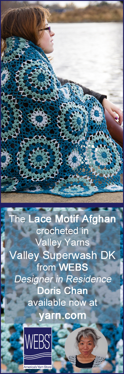 Doris Chan, WEBS Designer in Residence December design, the Lace Motif Afghan. Read more on the WEBS Blog at blog.yarn.com
