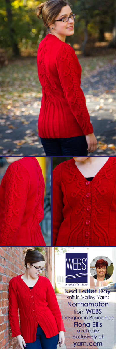 Fiona Ellis WEBS 2015 Knitwear Designer in Residence. Her sixth design, the Red Letter Day cardigan, in Valley Yarns Northampton - learn more at blog.yarn.com