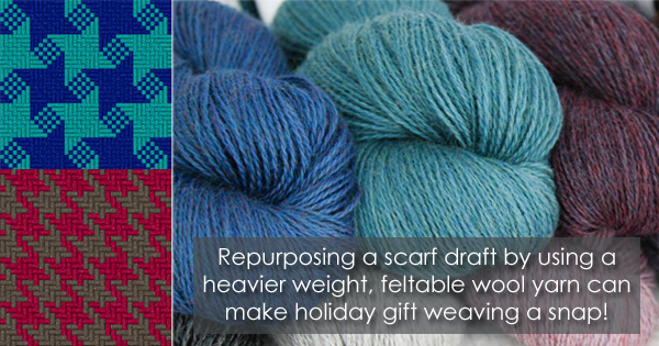 Alternate uses for your weaving drafts: quick holiday gifts on the WEBS Blog. Read more at blog.yarn.com