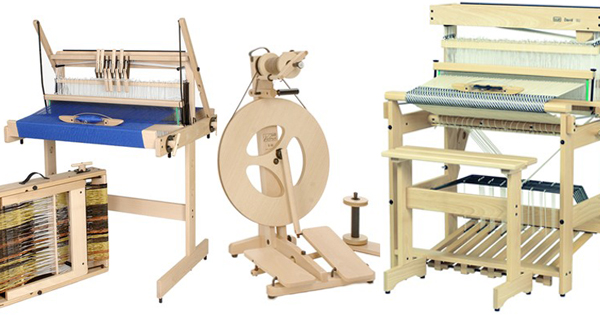 New louet looms and spinning wheels at WEBS. Read more on the WEBS Blog at blog.yarn.com