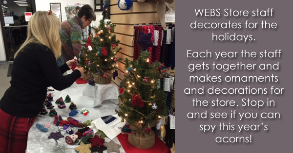 WEBS Store staff decorates with handmade ornaments each year. Read more on the WEBS Blog at blog.yarn.com