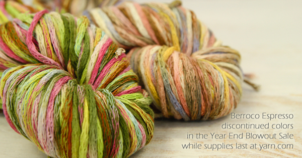 Berroco Espresso discontinued colors in the WEBS Year End Blowout Sale Dec 22 - Jan 4. visit yarn.com for more details
