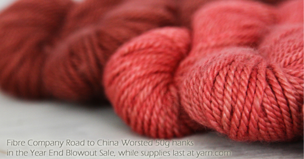 Fibre Company Road to China Worsted in the WEBS Year End Blowout Sale Dec 22 - Jan 4. visit yarn.com for more details