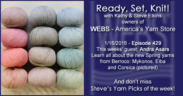 Ready, Set, Knit! episode #429 - Kathy talks with Andra Asars. Listen now on the WEBS Blog - blog.yarn.com
