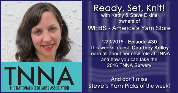 Ready, Set, Knit! episode #430 - Kathy talks with Courtney Kelley. Listen now on the WEBS Blog - blog.yarn.com