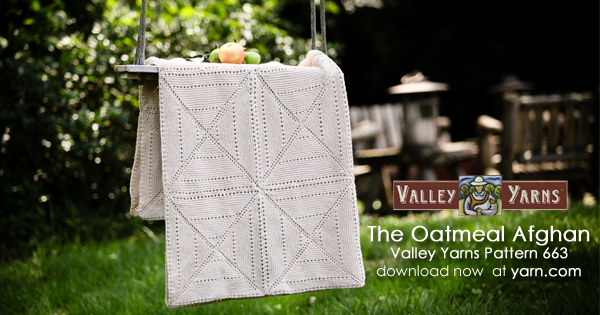 Valley Yarns pattern 663 - The Oatmeal Afghan, knit in Valley Yarns Amherst. Available now at yarn.com