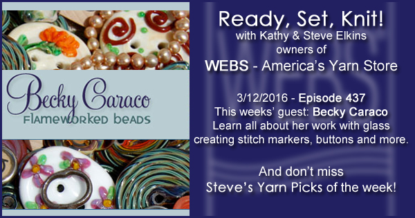 Ready, Set, Knit! episode #437 - Kathy talks with Becky Caraco. Listen now on the WEBS Blog - blog.yarn.com