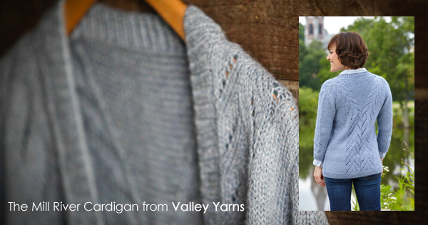 The Mill River Cardigan knit in Valley Yarns Sunderland. Read more on the WEBS Blog at blog.yarn.com