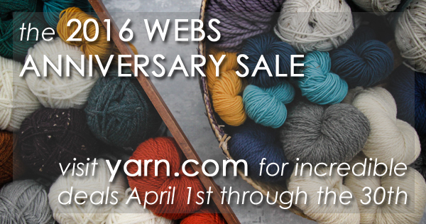 Don't miss out on fantastic deals in the WEBS Anniversary Sale starting April 1st. Read more on the WEBS Blog at blog.yarn.com