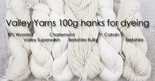 100g hanks of your favorite Valley Yarns for all your dyeing needs. Read more on the WEBS Blog at blog.yarn.com