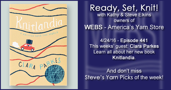 Ready, Set, Knit! episode #441 - Kathy talks with Clara Parkes. Listen now on the WEBS Blog - blog.yarn.com