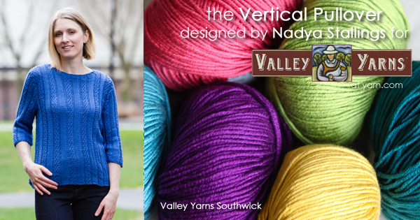 The Vertical Pullover from Valley Yarns. Learn more about the yarn, the design, and where you can get a copy of the pattern on the WEBS Blog at blog.yarn.com