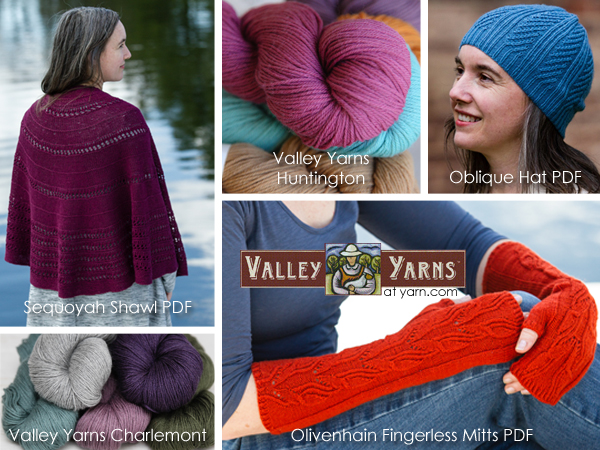 New Designs for June 2016 from Valley Yarns - details on the WEBS Blog at blog.yarn.com