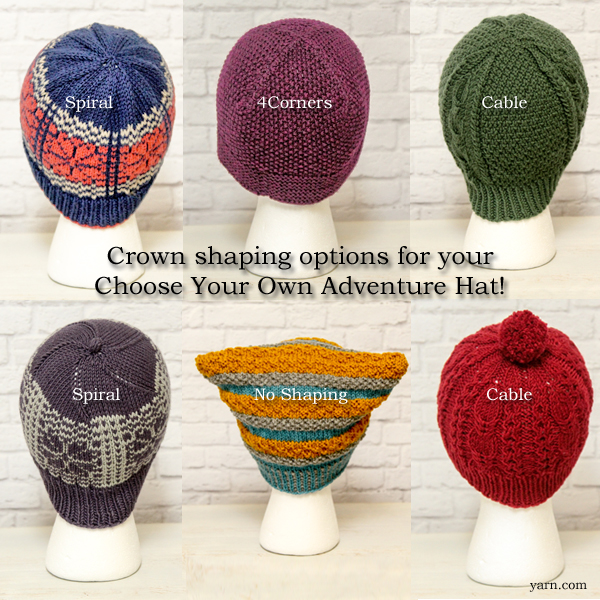 Crown shaping options for the Choose Your Own Adventure Hat KAL on the WEBS Blog at blog.yarn.com