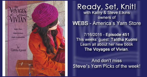Ready, Set, Knit! episode #451 - Kathy talks with Talitha Kuomi. Listen now on the WEBS Blog - blog.yarn.com