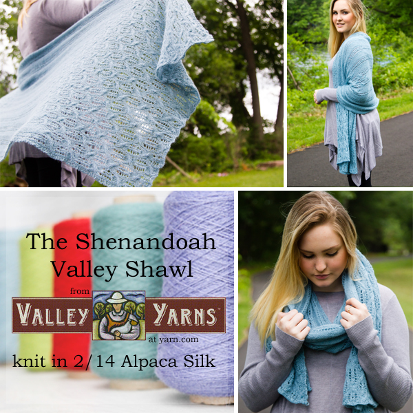 The Shenandoah Valley Shawl from Valley Yarns. Learn more about the yarn, the designer, and where you can get your copy of the pattern on the WEBS Blog at blog.yarn.com
