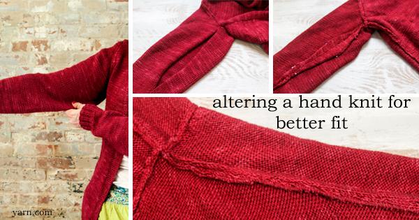 Marthe altered her daughter's Custom Fit sweater, details on the WEBS Blog at blog.yarn.com