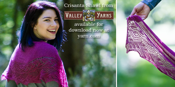 The Crisanta Shawl from Valley Yarns. Learn more about the yarn, the designer, and where you can get your copy of the pattern on the WEBS Blog at blog.yarn.com