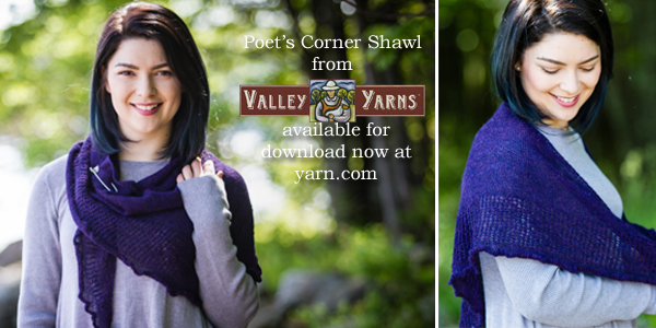 The Poet's Corner Shawl from Valley Yarns. Learn more about the yarn, the designer, and where you can get your copy of the pattern on the WEBS Blog at blog.yarn.com