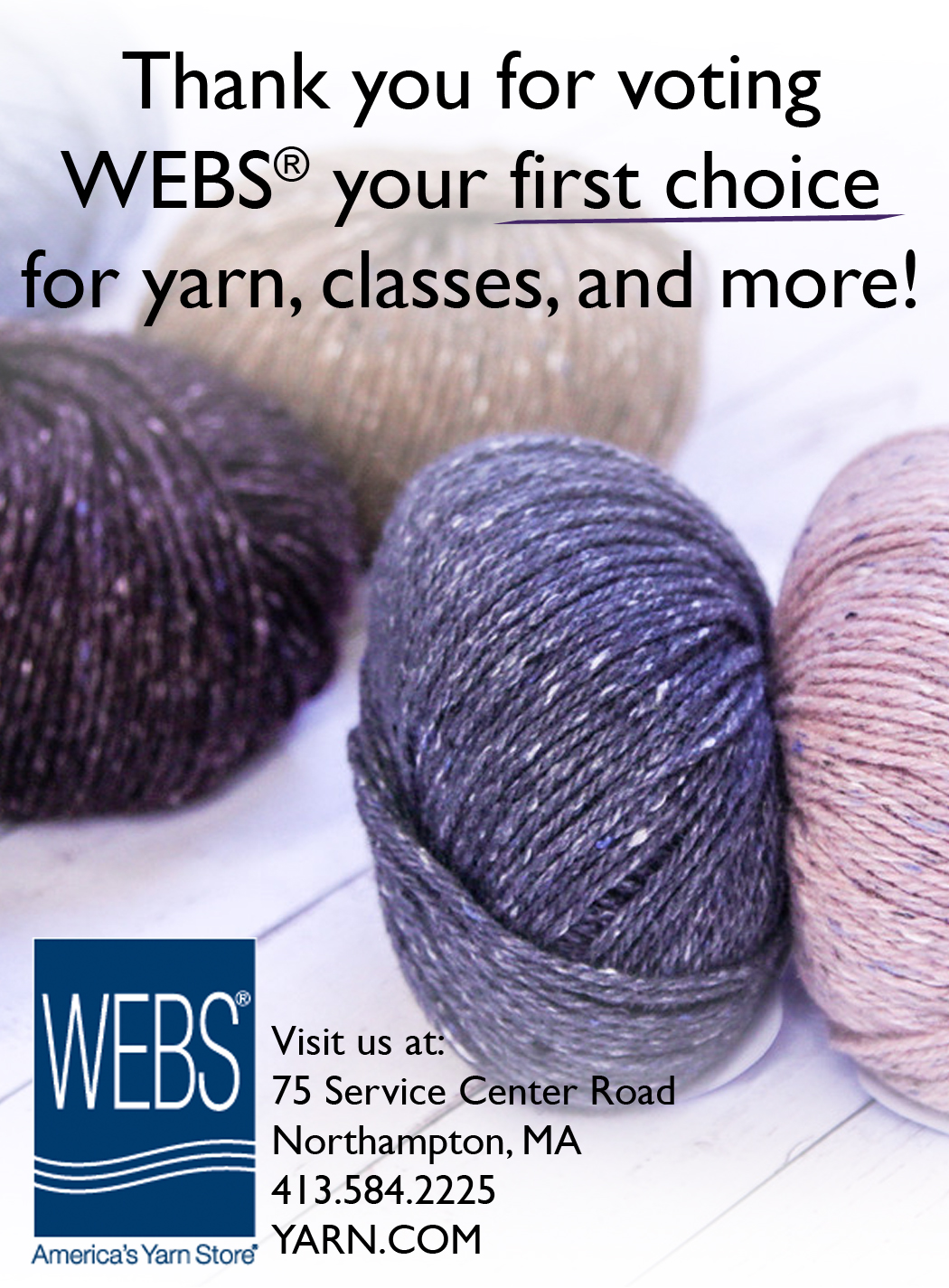 WEBS is in first place for 2016 in the Daily Hampshire Gazette's annual Reader's Poll. Read more on the WEBS Blog at blog.yarn.com