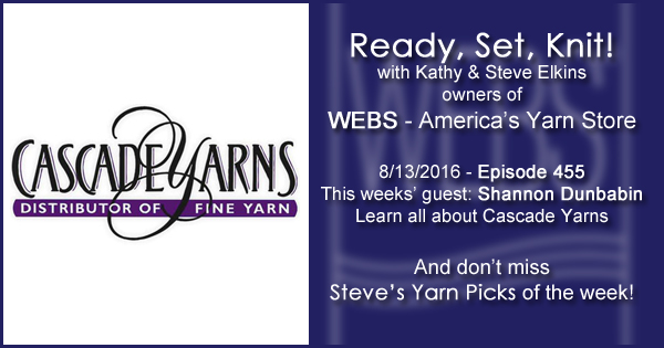 Ready, Set, Knit! episode #455 - Amy talks with Shannon Dunbabin. Listen now on the WEBS Blog - blog.yarn.com