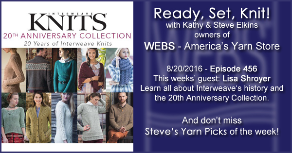 Ready, Set, Knit! episode #456 - Amy talks with Lisa Shroyer. Listen now on the WEBS Blog - blog.yarn.com