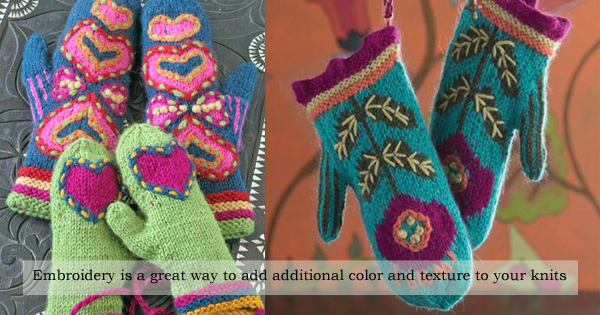 Amy's suggestions for adding embroidery to your knits, on the WEBS Blog at blog.yarn.com