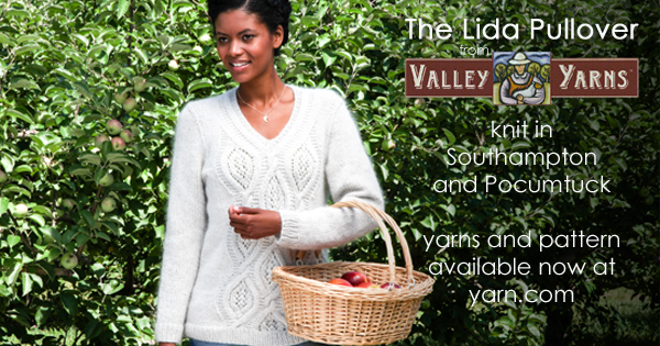 Valley Yarns Lida Pullover, a gorgeous sweater combining two luxury yarns at incredible prices! Read more on the WEBS Blog at blog.yarn.com