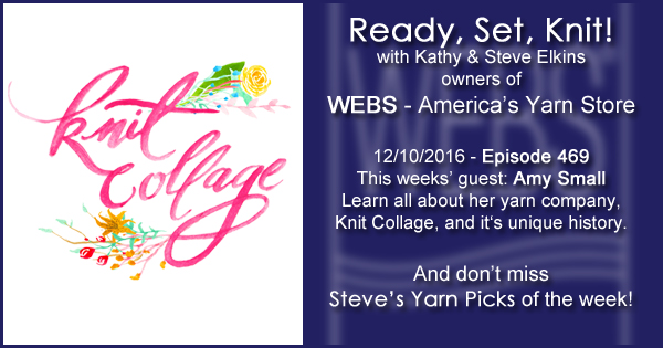 Ready, Set, Knit! episode #469 - Kathy talks with Amy Small. Listen now on the WEBS Blog - blog.yarn.com