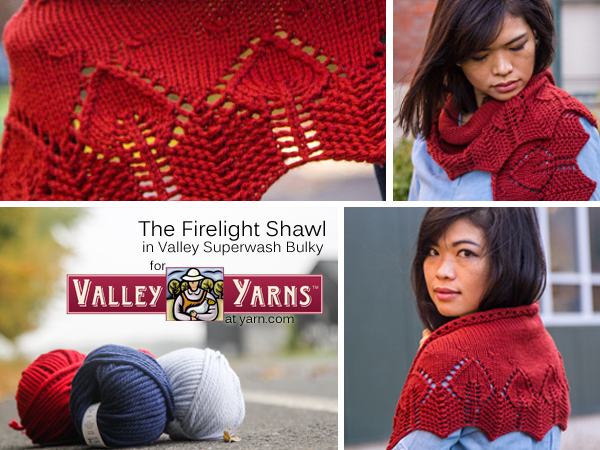 The Firelight Shawl in Valley Yarns Valley Superwash Bulky. Read more on the WEBS Blog at blog.yarn.com
