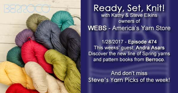 Ready, Set, Knit! episode #474 - Kathy talks with Andra Asars. Listen now on the WEBS Blog - blog.yarn.com