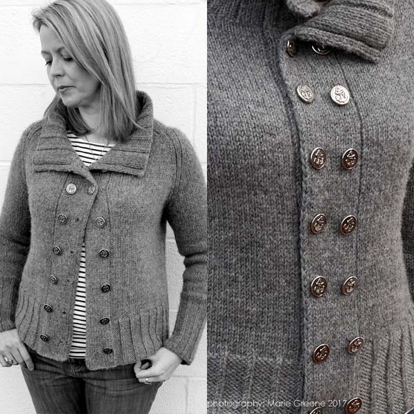 First Watch Pea Coat from Olive Knits, read about the design journey of this knit, and enter to win the yarn and pattern on the WEBS Blog at blog.yarn.com