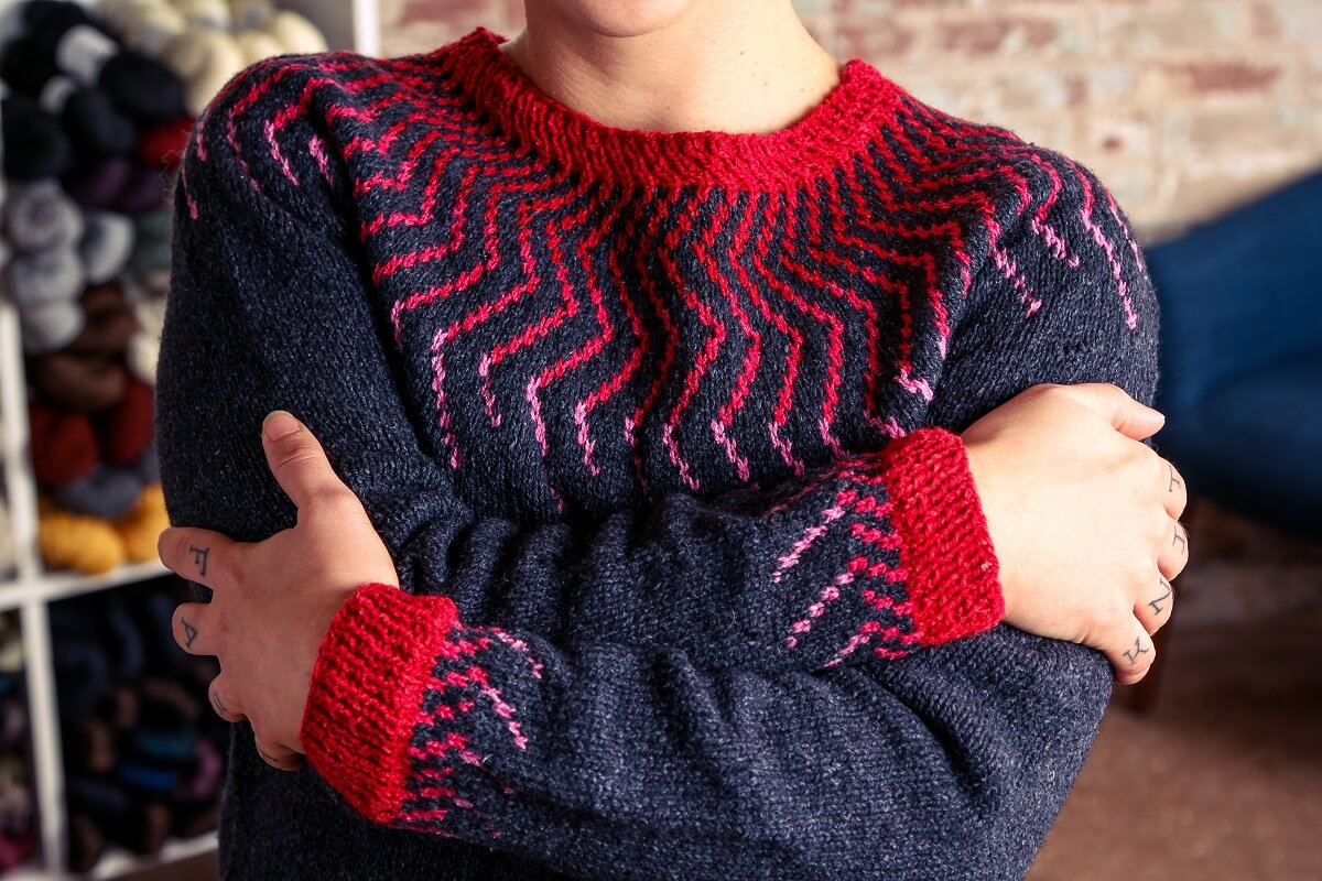 Twist Collective Thunderbolt Knit Pullover Sweater Pattern